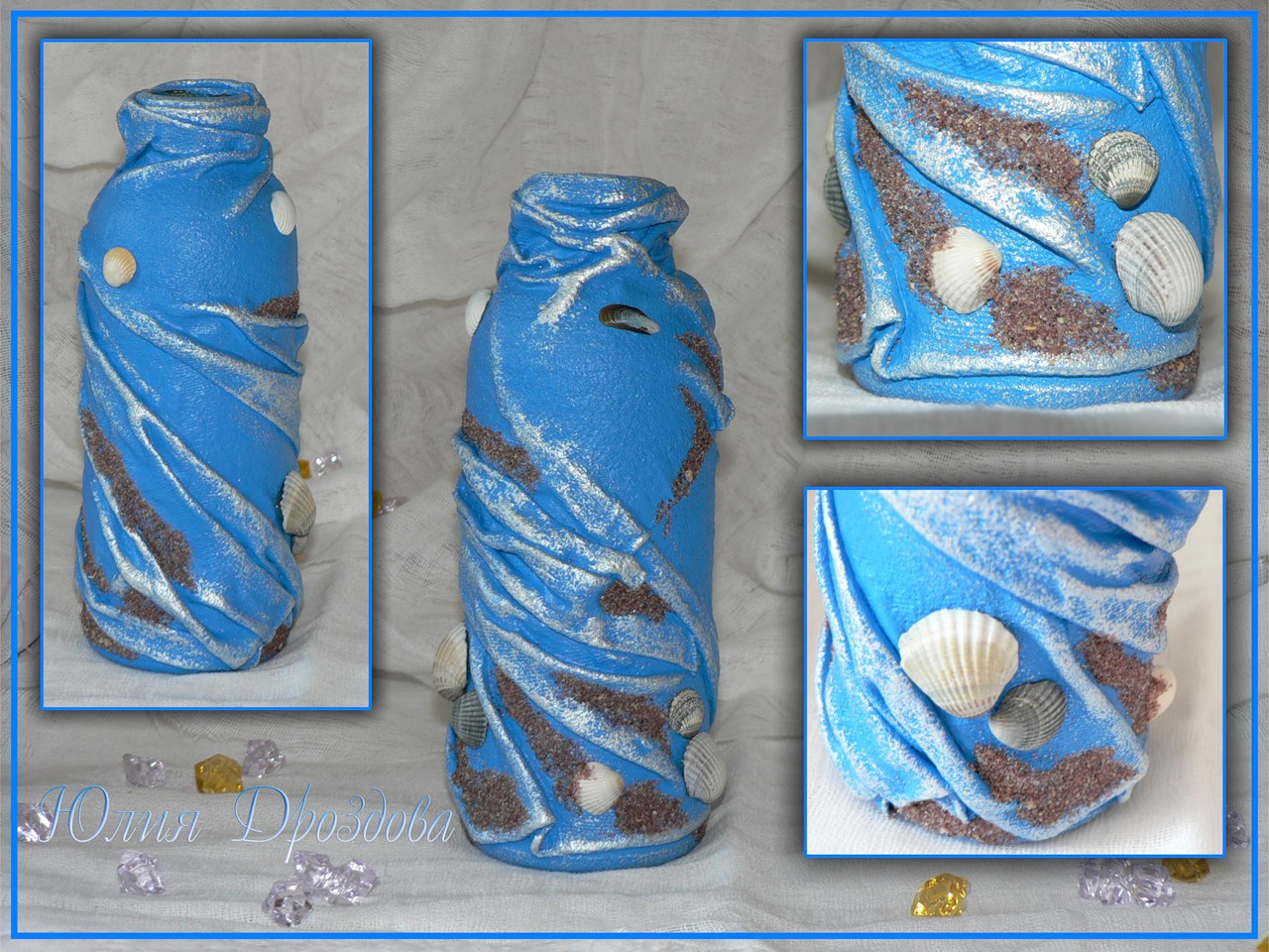 Как украсить бутылку ракушками своими руками 68