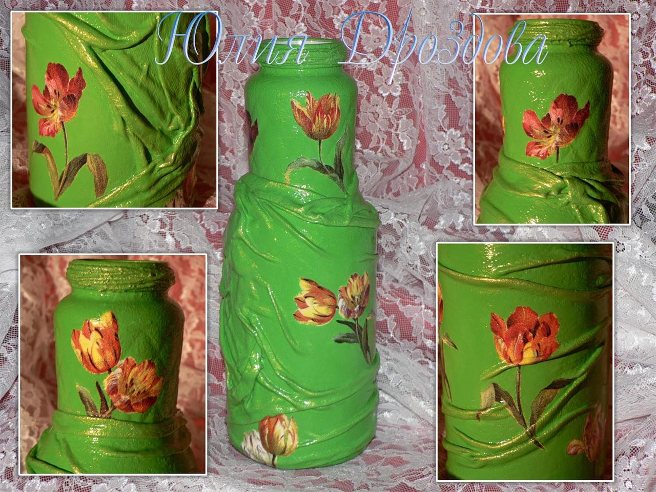 Декупаж из бутылки сделать вазу своими руками 11